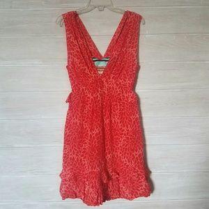 Nanette Lepore Santa Fe Hot Tamale Silk Dress Red